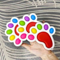 Square pata pé forma bolha poppers arco-íris board fidget brinquedos sensory push dedo quebra-cabeça brinquedo stress relevo engraçado placa desktop jogo g4uprup