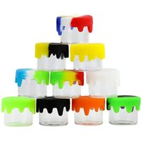 6ml Glass Container Nonstick Wax Containers Jars Bottle silicone lid Empty box oil colorful jar holder for vaporizer vape dab tool storage