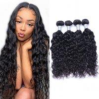 Bundles de cabello humano onda de agua peruana 3 4 piezas mojadas y onduladas para mujeres negras Pantalones de pelo virgen largo gruesos