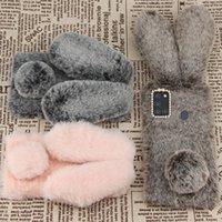 For Samsung Galaxy A21s A51 A71 A31 A32 A42 A52 A72 Cases Warm Plush Rabbit Fur Shiny Diamond TPU Back Cover for iphone 13 13pro 13promax