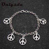 Link, Chain Onlysda Retro Peace Symbol Men's Bracelet Hand-made Braided Genuine Leather Rope Bracelets Bangles OSL160