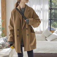 GooHojio 2021 Nueva moda Color sólido Mujer Abrigo de lana All-Match Blend Otoño Casual Chic Manga larga Mujeres Abrigo
