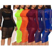 도매 여자 디자이너 드레스 섹시한 메쉬 3 조각 세트 드레스를 통해 고품질을 봅니다 우아한 럭셔리 패션 스커트 무릎 길이 여성 의류 D411