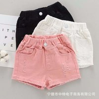 Kurzer Mädchen Sommer 2021 Fremdstil Mittelschule Kinder Jeans Shorts tragen heiße Hosen mit Löchern, Mode und Multicolor