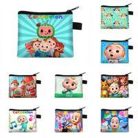 Cocomelon carteira zip moedas bolsas bolsas desenhos animados bebê menino jj crianças crianças chaveiro saco de anel de pingente meninos meninas sacos de cartão de armazenamento malotes caça natal g91gjai