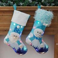 LED Parlayan Noel Çorap Noel Baba için Kardan Adam Xmas Ağacı Dekorasyon Kolye Süsler Çorap Hediye Çantası Şeker Çanta HWB9031