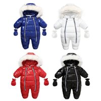 Baby Rompers Winter Newborn Jumpsuits Boys Girls Jumpsuit Hooded Long Sleeve Bodysuits Infant One Piece Clothing Toddler Onesies Clothes Gloves Coat Warm B7185