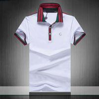 Homens S Pólos Classic Letras Bordado Stripe Padrão Luxo de Alta Qualidade Moda Moda Polo Camisa Polo Preto e Branco Casual Manga Curta M-3XL