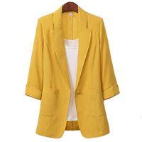 Women Cotton Linen 3 4 Sleeve Plus Size Suit Jacket 2021 Spring Summer Korean Casual Fashion Single Button Blazer 513 Women's Suits & Blazer