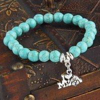 12PC/Lot I Love My Dog Heart Charms Bracelet Natural Stone Beads Bangle Women Men Animals Pet Lovers Bracelets Jewelry Gifts