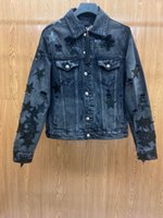 Mens Designer Jean Jacket Outwear Leather pentacle embroidery clothes Jackets locomotive Coat Outside Men Clothing