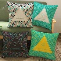 Cojín / almohada decorativa creativa patrón geométrico de triángulos Líneas de lino Cajas de lanzamiento de lino I Amo a mi familia Cartas Home Sofá decoración Cojín