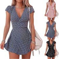 Summer 2021 Women's casual dresses floral short skirt miniskirt V-neck