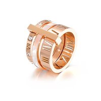 High Quality Designer for Woman Ring Zirconia Engagement Titanium Steel Love Wedding Rings Silver Rose Gold Fashion jewelry Gifts Women sets