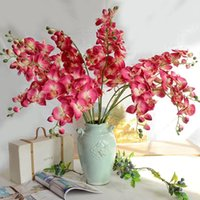 Branche de fleur d'orchidée d'orchidée artificielle 8 têtes bouquet faux floral fête de mariage ornement accessoires home room décor fleurs décoratives warais