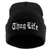 2021 NEW THUG LIFE Black Letter Beanie Unisex Fashion Hip Hop Mens Beanies Knitted Caps for Women Skullies Gorros Bonnets