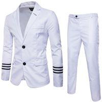 Men's Suits & Blazers Formal Suit Jackets Blazer +Pants Wedding Large Size Men White Slim 46D1