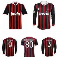 2009 2010 maillot de football rétro vintage shirt de football 09 10 Classic AC Maglia da Callia Da Manchon à manches longues Maldini Seedorf Milan Beckham Ronaldinho