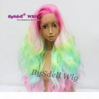 유니콘 파스텔 머리카락 핑크 옐로우 블루 옴 브레 헤어 합성 봄 꽃 다채로운 무지개 머리 레이스 프런트 가발 아름다움 가발 여자를위한
