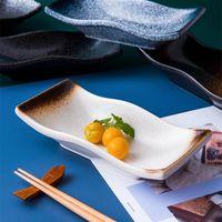 Dishes & Plates Japanese-style Retro Ceramic Tableware Household Creative Rectangular Heart Daily Plates.