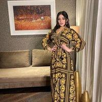 Ethnic Clothing Islamic Maxi Dresses Women Dubai Abaya Kaftan Turkish Muslim Print V Neck Jalabiya Loose Plus Size Dress Ramadan Eid