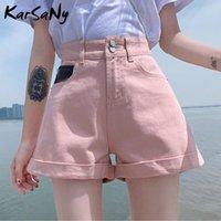Karsany Shorts Shorts Denim Women Thread Thread Jeans Pantalones para el verano suelto Wool Leg Cintura Rosa