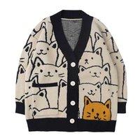 Lacble Harajuku Cartoon Cat d'imprimé Cardigan Pull Cardigan Men Streetwear Motif Streetwear Tricoterie Casual Casual Jacket Femmes Unisexe 211018