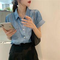 Women's Blouses & Shirts Women Blouse Summer Loose Single Olo Collar Short-Sleeved Denim Shirt Top For Blusas Ropa De Mujer