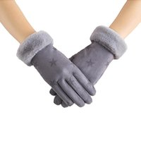 Five Fingers Gloves Women's Autumn And Wnter Suede Warm Double Layer Plush Thickened Fashionable Cycling Ski Touch Screen