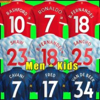 Ronaldo Sancho Rashford Jerseys Fashion Shaw 2021 - 22 Pogba Manchester Cavani Martial van de Beek B. Fernandes Unite Greenwood Utd Soccer Football Hemden Mann Kids Kit