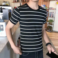tshirt Summer Short Sleeve Striped T-shirt sea soul shirt men's loose fitting sailor's clothing academy style couple's round ne screw top