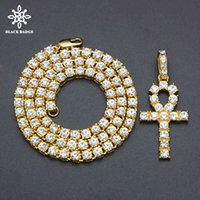 Necklace Men Women Alloy Hip Hop Iced Out Ankh Cross Pendant Tennis Chain Cz Egyptian Key of Life Pendant&necklace Jewelry Gift