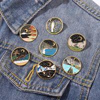 Starry Night Moon Enamel Броши на открытом воздухе Горная река Пейзаж Пейзажные штифты Пведы для джинсовой одежды сумка Ювелирные Изделия Рождество Новый год подарок Детские друзья