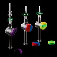 Glass Nector Collector Kit Mini Small NC Kits With 10mm 14mm Quartz Tips Plastic Clip Cilicone Oil Wax Container For Straw Pipes