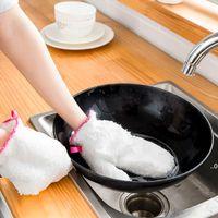 Luva de pano à prova d 'água branco antiderrapante prato de lavagem luvas domésticas lavagem de cozinha luvas de limpeza inverno inverno limpeza luva fwf9020