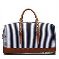 HBP Navy Stripes Large size 55cm Canvas Duffel Bags Women Men Travel luggage Bag
