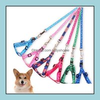 Collars Supplies Home & Garden1.0*120Cm Harness Leashes Nylon Printed Adjustable Dog Puppy Cat Animals Aessories Pet Necklace Rope Tie Colla
