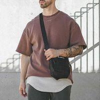 AsRV Herrenweinlese Distressed T-shirts Sommer Neue übergroße Kurzarm T-shirt Hip Hop Mann Stickerei T-Stück Koszulka Haikyuu x0628