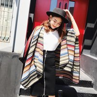 Hats, Scarves & Gloves Sets European And American Style Women Scarf Autumn Winter Dual-use Big Shawl Thickened Wave Stripe Imitation Cashmer