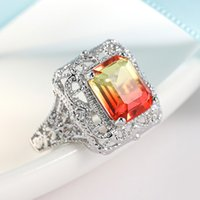 Genuine Red Gemstone Tourmaline Ring for Women Engagement Ring Colorful Stone Jewelry Hollow Out Carving Silver Color Ring