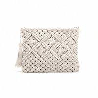 Kupplung Geldbörsen für Frauen Quaste Stroh Handtasche Vintage Handwälzentasche Sommer Strandtasche, weiß S349 #
