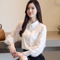 Women's Blouses & Shirts Korean Fashion Women Woman Chiffon Lace Blouse OL Shirt Plus Size Womens Tops And Elegant Top