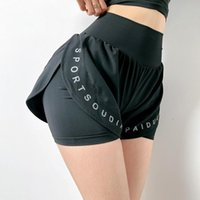 Damen Shorts Womengaga Girl Hohe Taille Workout Anti Light Fitness Running Fast Dry Fake Two Loose Skorts Brief Koreanisch 9GPC