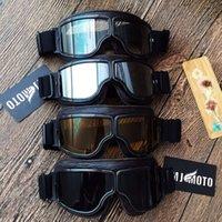 Mjmoto خمر دراجة نارية موتو خوذة نظارات جلدية الطيار قاطرة نظارات كروزر سكوتر حملق