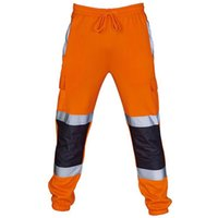 Men's Pants Cargo Men Reflective Patchwork Work Striped Drawstring Clothing Casual Trousers Sport Male