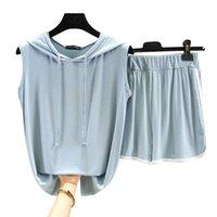 Women's Tracksuits Ensemble Femme 2 Pièces Women Pyjamas Summer Modal Home Suits Female Plus Size Hooded T-Shirt +Loose Shorts Pants