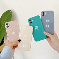 Cell Phone Cases LACK Simple Cute Love Heart Case For iPhone 11 Pro Max X XS XR 7 8 Plus 12 Smooth Jelly color Silicone Couples Back Cover By DHL