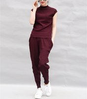 Rayon Blend Blend Knit Women's Fashion Maglione a manica corta Pullover Harem Pant 2pcs / Set S / M / L Dimensioni Claret 2 Color Tracksuits