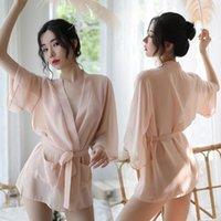 Women's Sleepwear Style Sexy Lingerie Chiffon Pajamas Transparent Thin Soft Japanese Kimono Bathrobe Short Nightdress Women Robe Thong