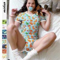Kadınlar için Pijama Bodysuit Şort Romper Açık Yapış Crotch Pijama Genç Kızlar Seksi Tulum Yetişkin Bebek Bezi Lover 210928